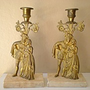 SALE Pair of  Marble and Brass Figural Candlestick Holders