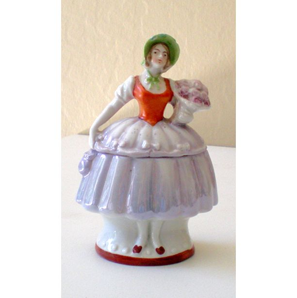 Vintage Lady Half Doll Style Powder Box Germany
