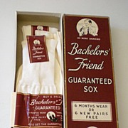 SALE 1940's Bachelor's Friend Sox Box w/ 3 Pairs of Socks