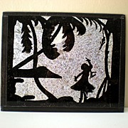 Reverse Painted Vintage Silhouette  Picture Hula Girl Hawaii