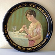 1920's Tin Advertising Tray Liberty Ice Cream California