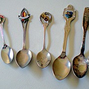 SALE Group of (5) Vintage Souvenir Spoons