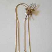 Vintage Bolo Necklace With Flower Slide