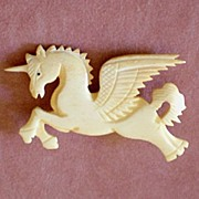 SALE Sharply Carved Vintage   Unicorn