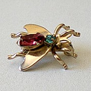 Shoo Fly!  Small Jeweled Fly Brooch Pin