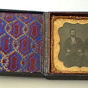SALE Antique 1850's Tin Type Photo in Beautiful Case