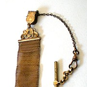 1920's-30's Gold Mesh Watch Fob With Chain