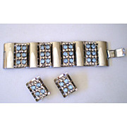Outrageous Vintage Chrome & Rhinestone Bracelet & Earrings Set