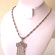 Striking Signed Sterling Silver and Marcasite Necklace