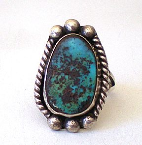 Large Vintage Man's Silver and Turquoise Ring