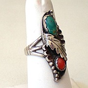 Vintage Signed Sterling Silver Turquoise & Coral Ring Native American