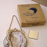 Vintage Whiting Davis Silver Mesh Purse In Original Box