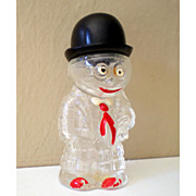 1930's Glass Candy Container Well Dressed Man