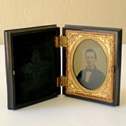 Victorian Tintype Photo In Fabulous Gutta Percha Frame