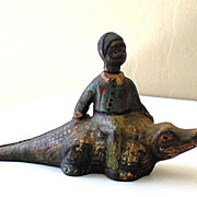 SALE Black Americana Cast Iron Boy on Alligator