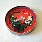 Vintage Cats and Mice Dexterity Game Pocket Mirror Germany