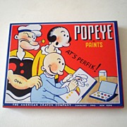 Vintage Popeye Paints in Tin Box With Great Graphics