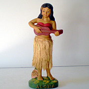 Large Vintage Hula Girl Nodder Waist Bobber 9&1/2 Inches Tall