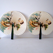 Matched Pair Vintage Asian  Folding Fans in Metal Frames