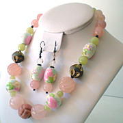 Gorgeous Pink & Green Jade & Glass Bead Necklace & Earrings