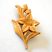 Pretty Carved Flower Brooch