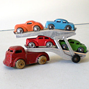 1940s Barclay Dies Cast Metal Transport Truck & 4 Cars