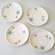 (4) Atomic Franciscan Starburst Pattern Saucers
