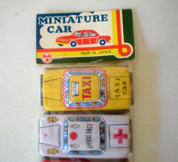 8 mini tin litho cars made in japan mint in package from californiagirls on ruby lane. Black Bedroom Furniture Sets. Home Design Ideas