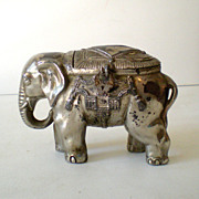 Cast Metal Circus Elephant Still Bank w/ Lock