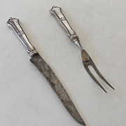 Vintage Sterling Silver Fork & Knife Carving Set