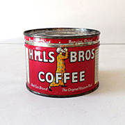 Scarce One Half Pound Coffee Tin Hills Brothers