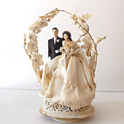 Large Vintage 1940s Wedding Cake Top Bride and Groom