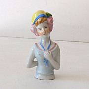 Vintage Porcelain Half Doll 1930s Flapper Girl