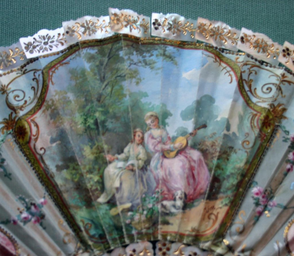 Rare Signed 19th c. French Fan, MOP Sticks & MOP Border