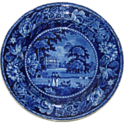 c. 1825 Ralph Hall Historical Blue Transfer Plate Llanarth Court, Wales