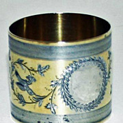 c 1875 Sterling Napkin Ring with Gold Wash