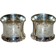 Pair 1904 Sterling Napkin Rings - Harrison Family Crest & Motto