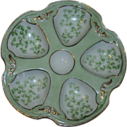 Vintage Gold and Green French Oyster Plate
