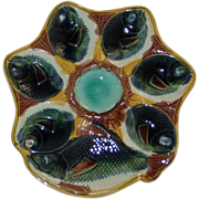 Majolica Oyster Plate with Fish Head Wells