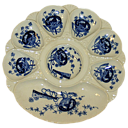 Antique Minton Bombay Blue and White Oyster Plate