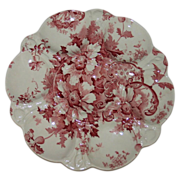 Antique Royal Staffordshire  Red and White Oyster Plate Marguerite