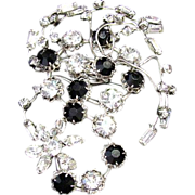 SALE Huge Original by Robert Rhinestone & Jet Black Glass Brooch