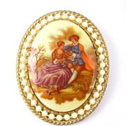SALE Signed Fragonard Courting Couple Transfer Brooch