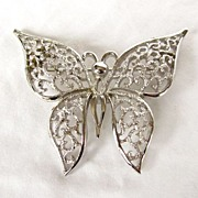 SALE Superb Crown Trifari Figural Butterfly Brooch Pin
