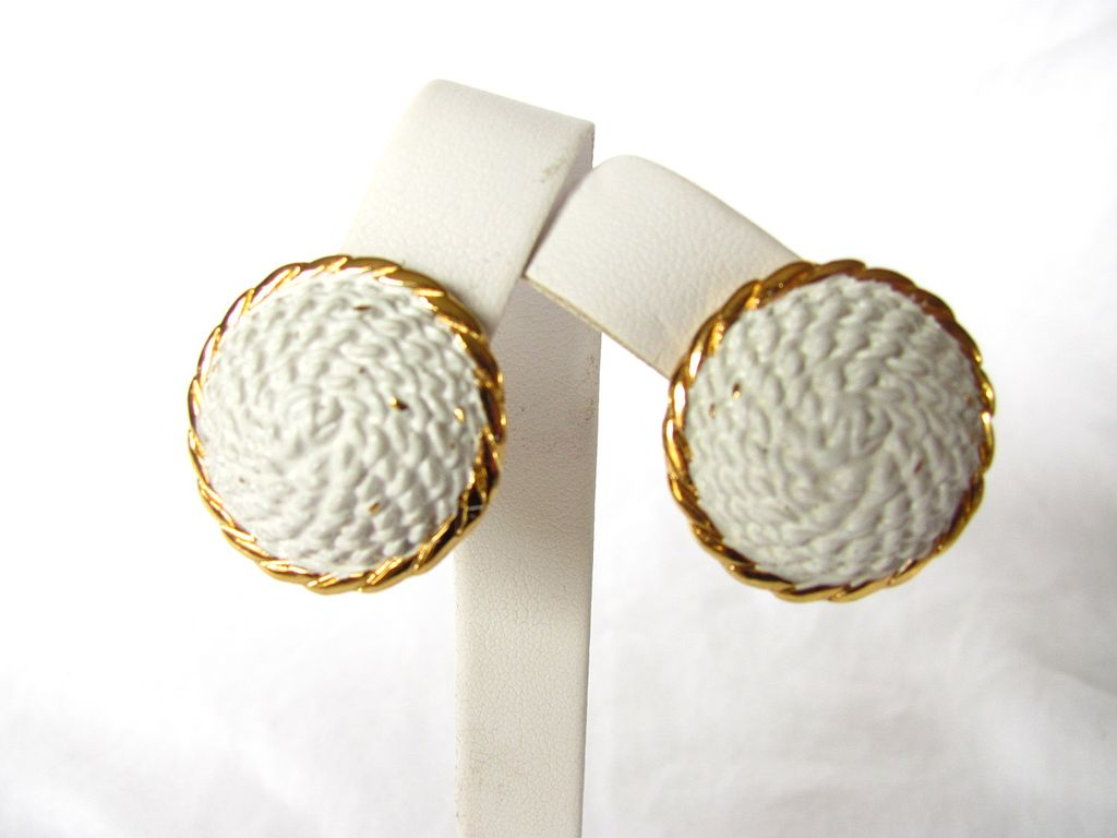 Vintage Crown Trifari Dome Enamel Earrings