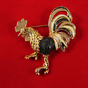 SALE Superb Figural Rooster Enameled Brooch Pin