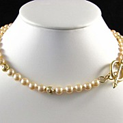 SALE Superb Faux Glass Pearl and Rhinestone Toggle Necklace