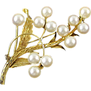 SALE 14 Karat Gold and Round Cultured Pearls Floral Brooch Pin