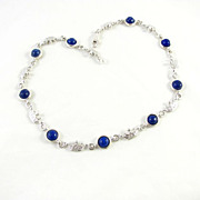 SALE Vintage Sterling Silver With Lapis Lazuli Linked Necklace
