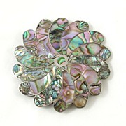 SALE Large Sterling Mexico Taxco & Inlaid Abalone Flower Brooch Pin